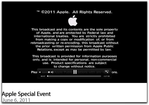 Apple 「WWDC 2011」の基調講演のビデオを公開