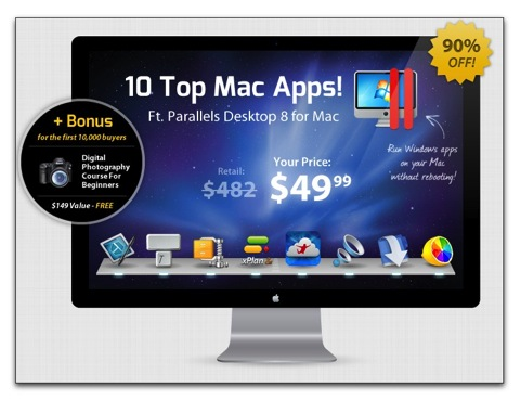 【Mac】「The Summer 2013 Mac Bundle」、Parallels Desktop 8 For Mac等、総額$482が$49.99