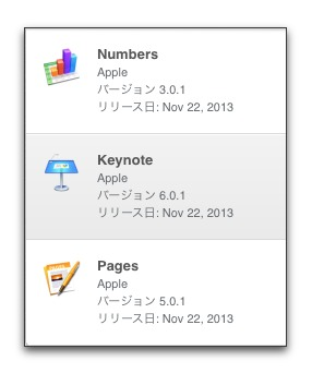 【Mac】Apple、「Pages 5.0.1」「Keynote 6.0.1」「Numbers 3.0.1」をリリース