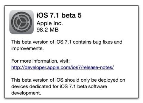 【iPhone,iPad】Apple、開発者にiOS 7.1 Beta 5をリリース