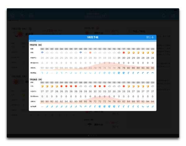 【iOS】人気のお天気アプリ「そら案内」がバージョンアップで1時間ごとの予報表示に対応
