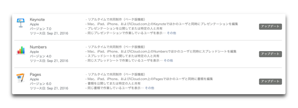 【Mac】Apple、「Keynote 7.0」「Numbers 4.0」「Pages 6.0」をリリース