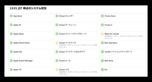 Apple、複数のiCloudサービスで障害が発生中