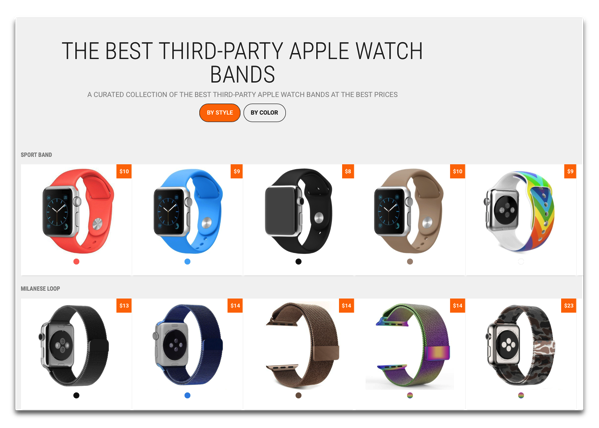 Apple Watchのサードパーティーのバンドを簡単に見つけるサイト