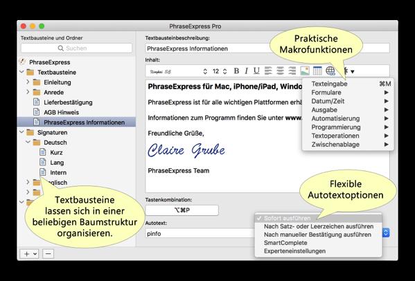 【Mac/iOS】「TextExpander」のキラーアプリになれるか、テキストモジュールの管理「PhraseExpress」