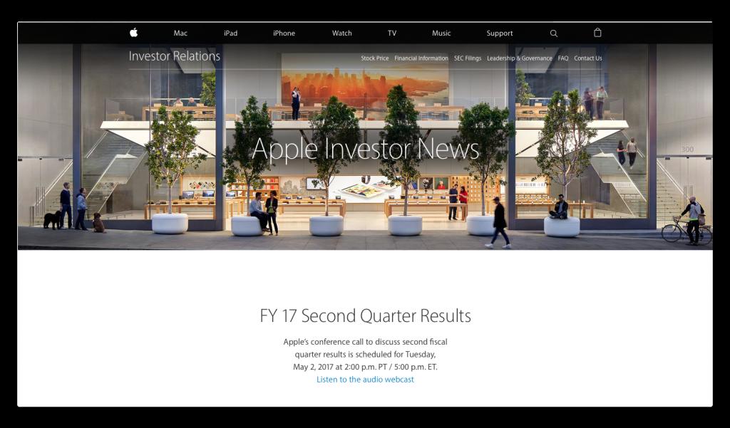 Apple、2017年5月2日(現地時間)に2017年第2四半期決算発表を行うことを発表