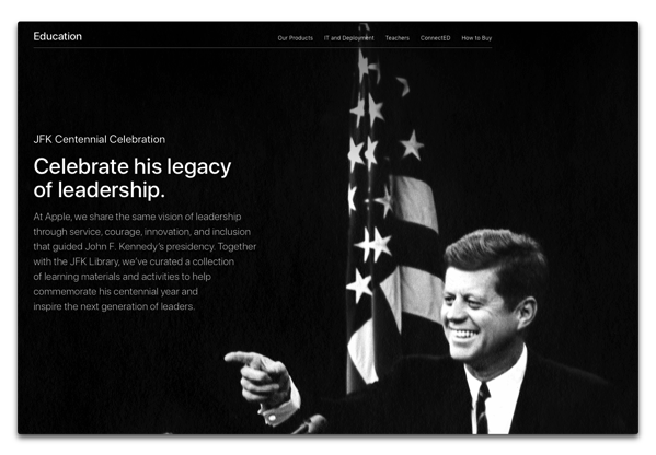 Apple、ジョン・F・ケネディ元大統領の生誕100周年を記念して特集を公開