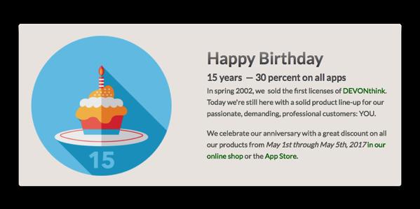 【Mac/iOS】DEVONtechnologies、ドキュメントマネージャー「DEVONthink Pro」など設立15周記念で期間限定で30%オフ