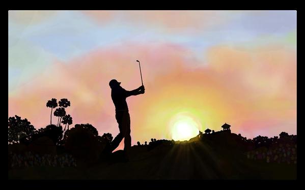 PGAツアーで、iPad ProとApple Pencilを使用して画像を描画