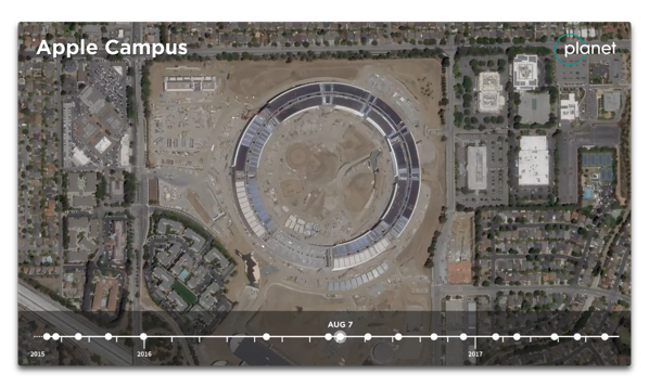 Apple Park建設の2年間を凝縮したサテライトビデオ