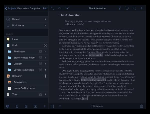 【iOS】人気の文章作成支援アプリ「Scrivener」が最初のメジャーアップデートでダークモードをサポート