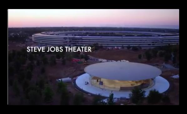 最新のApple Parkのドローンによる撮影ではSteve Jobs シアターの様子が