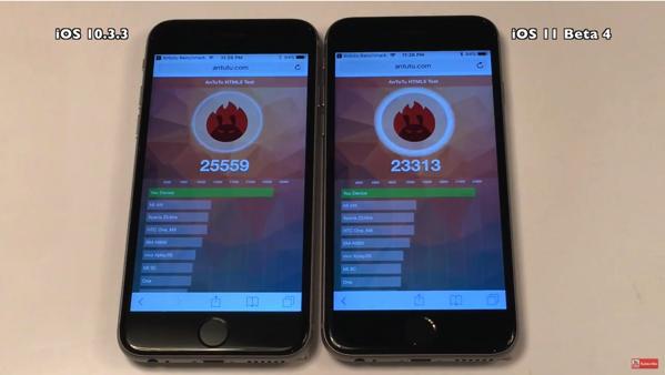 iPhone 6sで、「iOS 10.3.3」と「iOS 11 beta 4」のスピード比較ビデオ