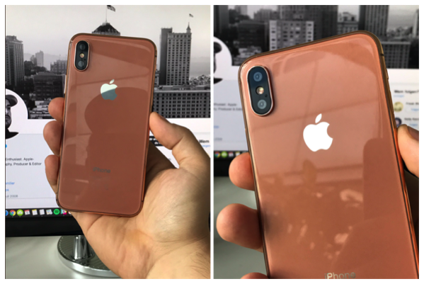 「iPhone 8」のダミーユニットの、Copper Gold colorの画像