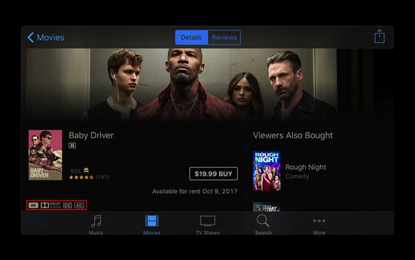 Apple、Apple TV 4Kの発売に先立ち、4K HDRのiTunesコンテンツの公開を開始