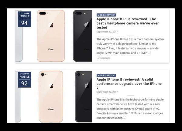 DxO MARK Mobileランキングで、「iPhone 8 Plus」がトップに、「iPhone 8」も2位に