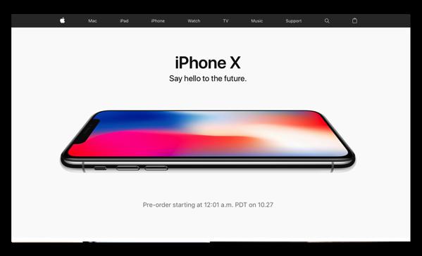 10月27日の予約開始を前に、米国Appleのトップページが「iPhone X」に