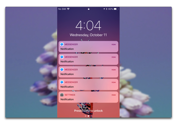 「iPhone X」では、ロック画面での通知内容は所有者本人だけが見る事が出来る