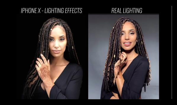 カメラマンが「iPhone X」のポートレートライティングと本物のスタジオライティングとを比較