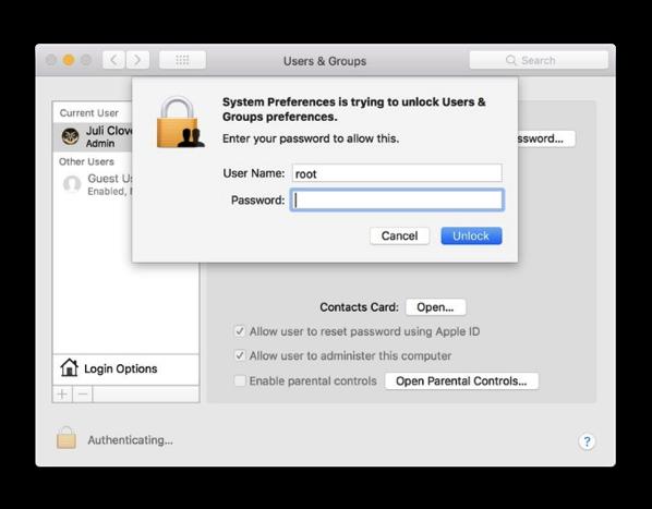 「macOSHighSierra」で空のパスワードで管理者としてアクセスできるバグを修正する方法