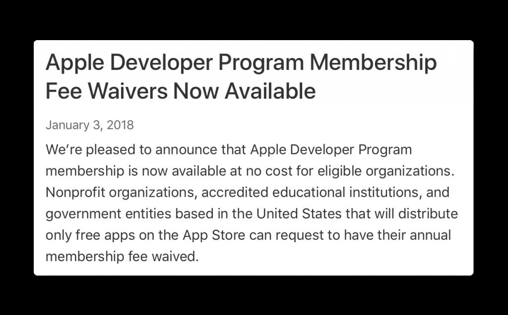 Apple、教育機関や非営利組織に「Developer Program Membership」を無料に