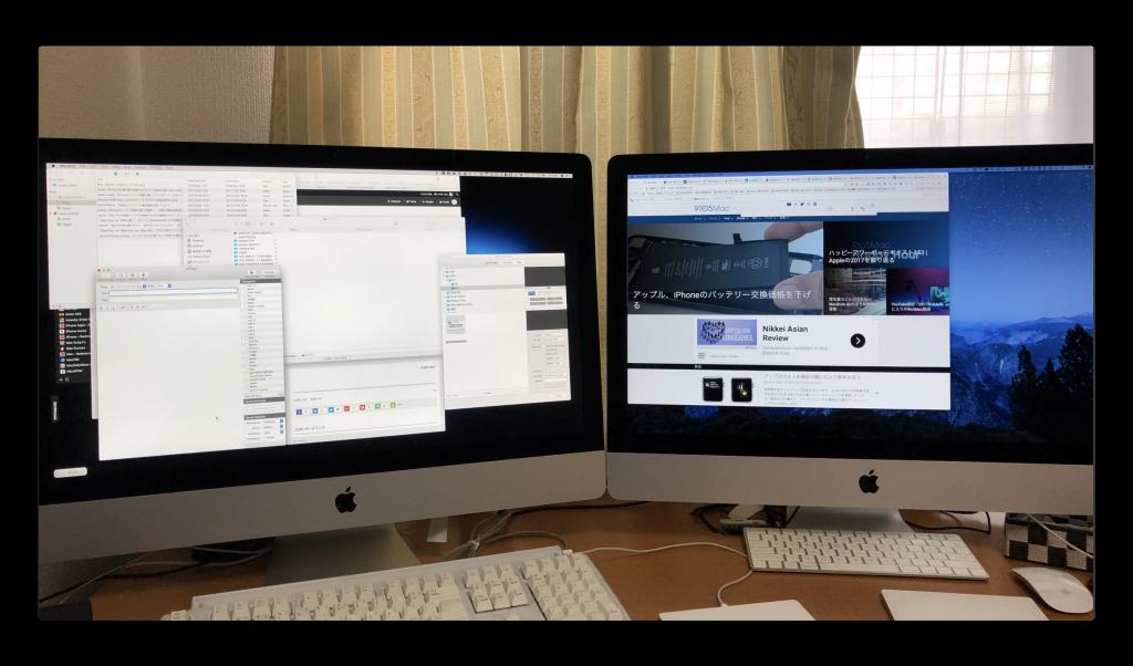 iMac 27inchをiMac 5Kのターゲットディスプレイモードでデュアルモニタ化
