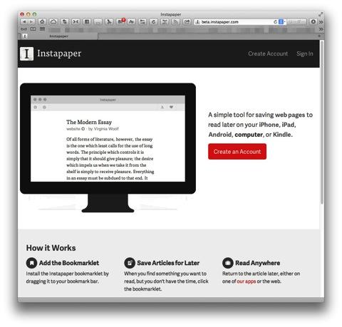 Instapaperが新しいベータ版ウェブサイト
