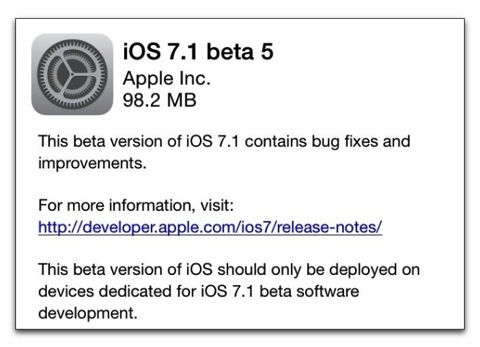 【iPhone,iPad】Apple、開発者にiOS 7.1 Beta 5をリリース