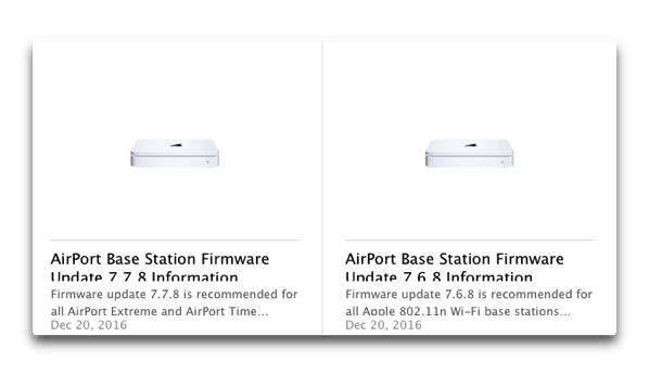 Apple、「AirMac」と「Time Capsule」のファームウェアアップデートをリリース