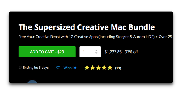 【Sale情報/Mac】「The Supersized Creative Mac Bundle」で総額1,237ドルが97%オフの 29ドル