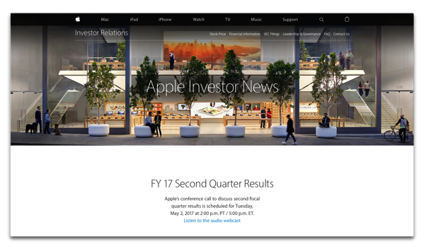 Apple、2017年第2四半期の決算を発表