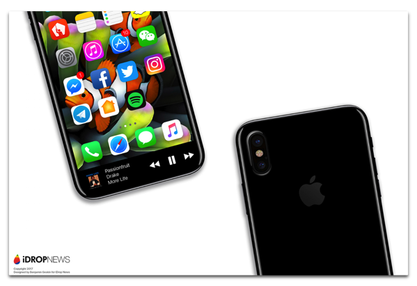 「ファンクションエリア」の機能を想定した、新しいiPhone 8のレンダリング