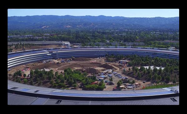 最新のApple Parkの映像では、造園が進んでCafeにも樹木が