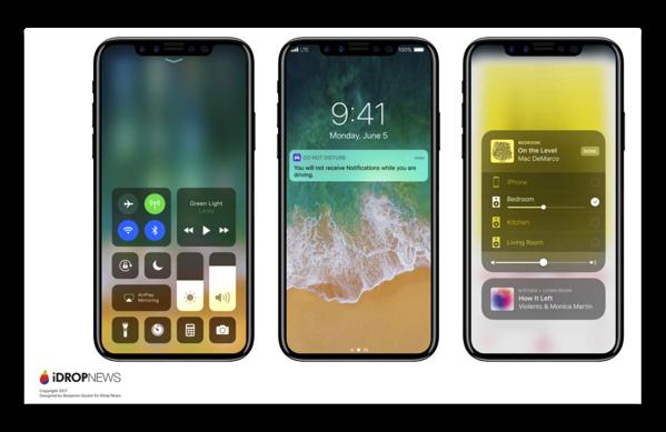 「iOS 11」で動作するiPhone 8のレンダリング画像