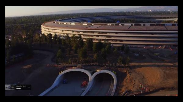 7月22日のApple Parkのドローンによる撮影では造園などの仕上げを