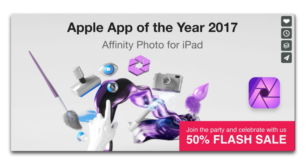 【Sale情報/iOS】2017 iPad App of the Yearの受章を記念して「Affinity Photo for iPad」が50%オフ