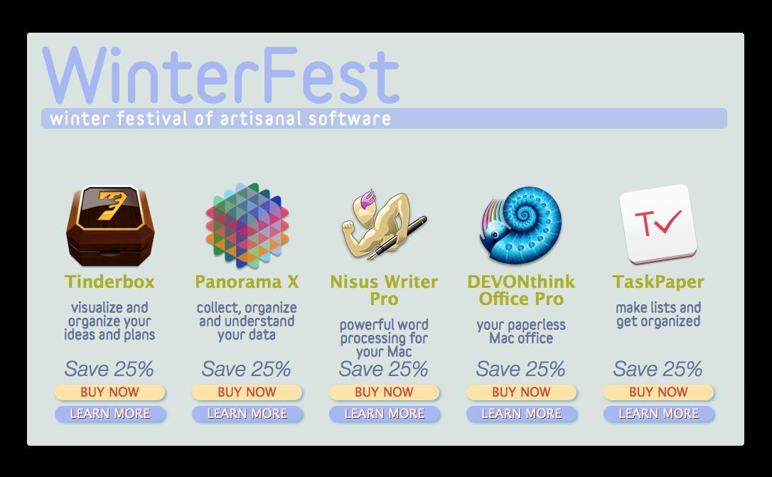 【Sale情報/Mac】Artisanal Softwareの「WinterFest」で優れたMacデベロッパーのアプリが25%オフ
