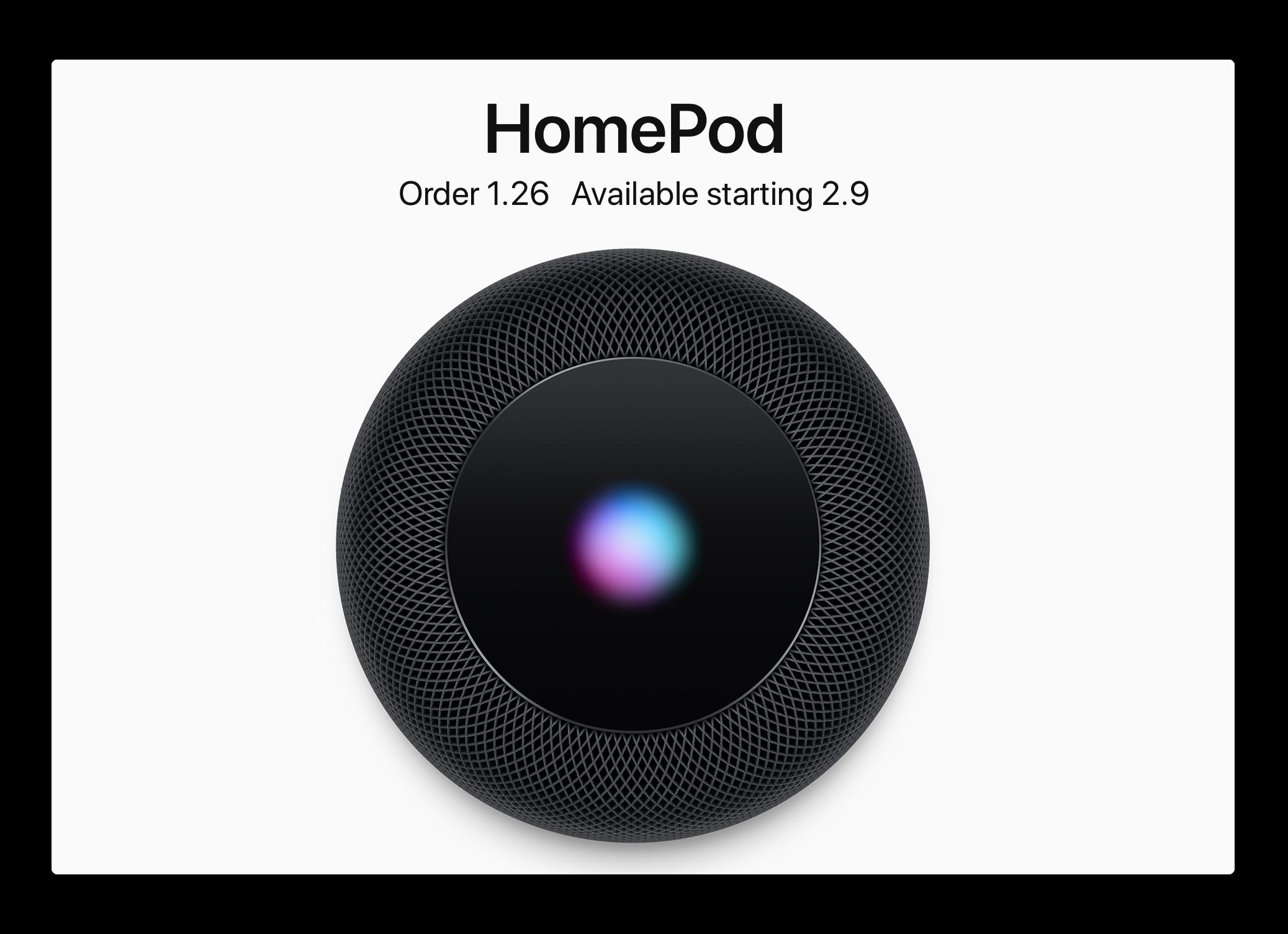 米Apple、HomePodは今週の金曜日に予約可能で、2月9日発売を発表