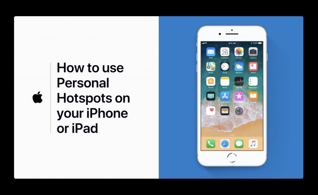 Apple Support、iPhoneまたはiPadでパーソナルホットスポットを使用する方法のビデオを公開