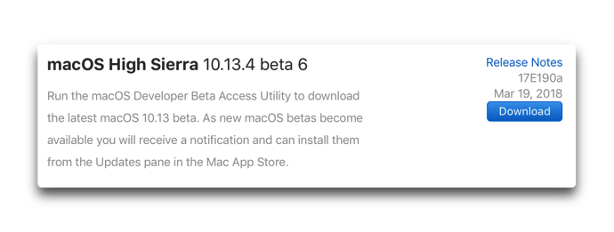 MacOS High Sierra 10 13 4 beta 6 001