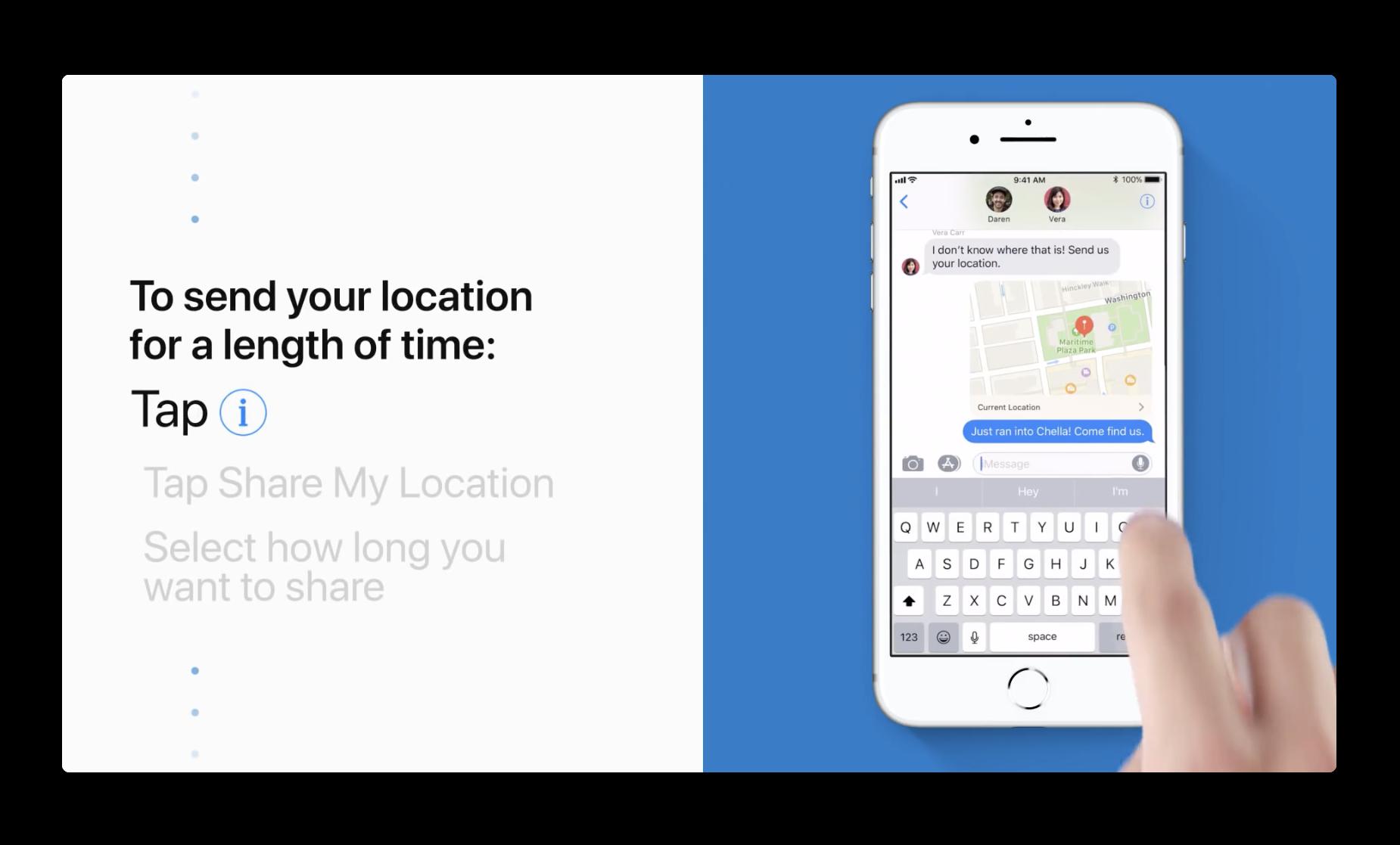 Apple Support、iPhoneから自分のいる場所を共有する方法のビデオを公開