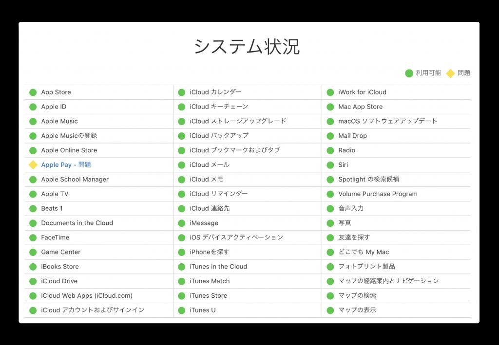 Apple、システム状況の「Apple Pay」で不具合発生中