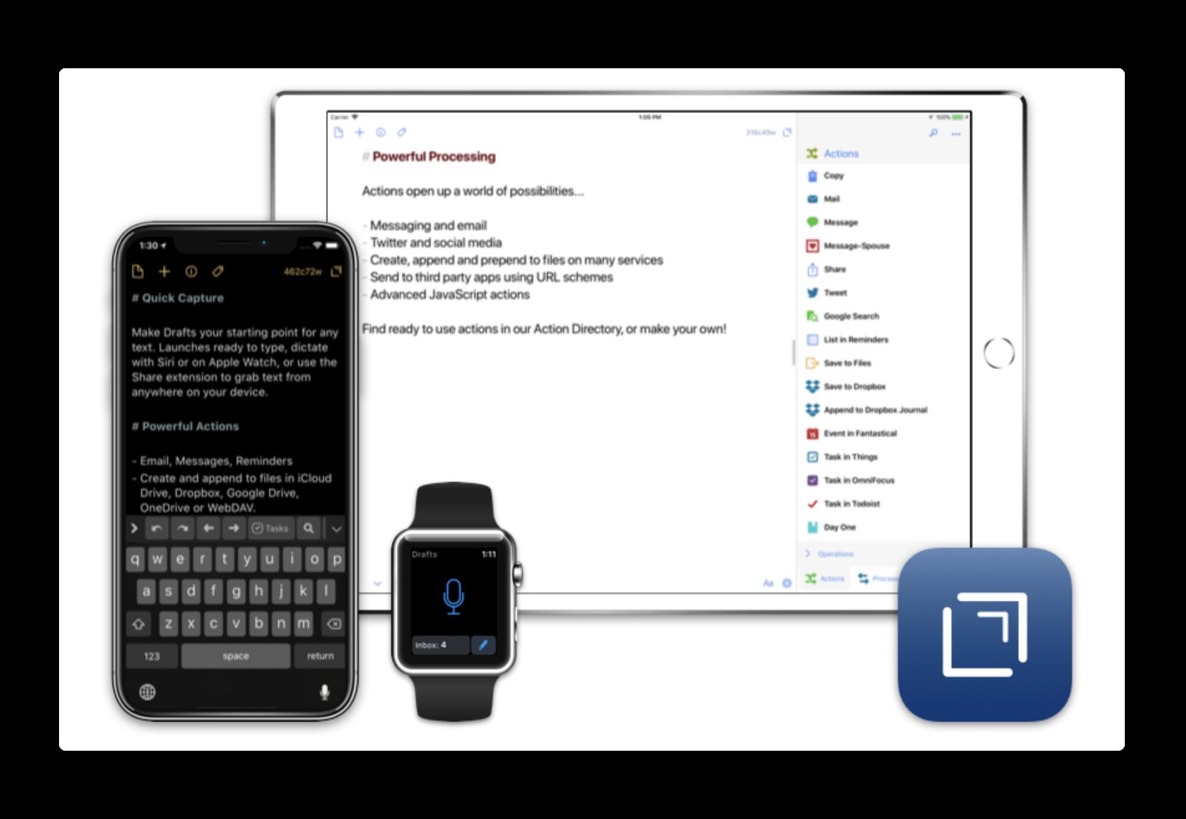【iOS】Siriのサポートを含む新機能で高機能エディタ「Drafts 5」がリリース