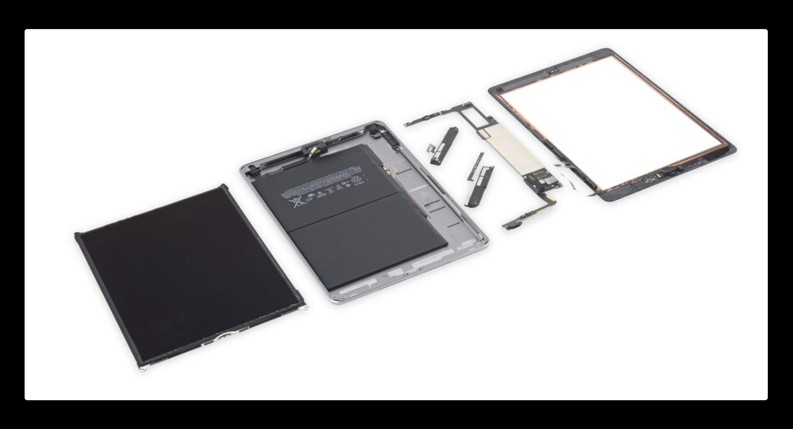 2018 iPadの分解、内部の接着剤が膠着しているため、修理不能