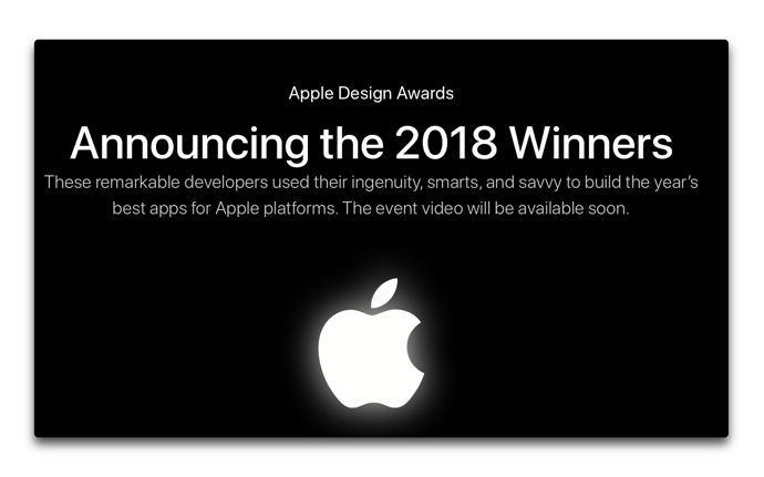 Apple、2018年Apple Design Awardの受賞者とアプリを発表