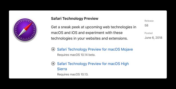 Mac】Apple,「Safari Technology Preview Release 58」を開発者