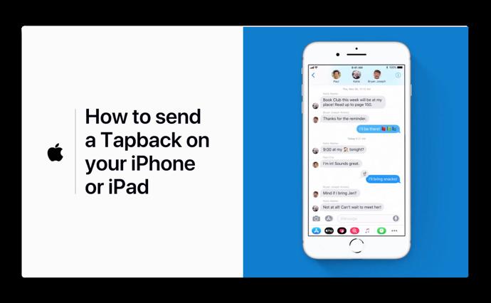 Apple Support、「iPhoneまたはiPadでTapbackを送信する方法」のハウツービデオを公開