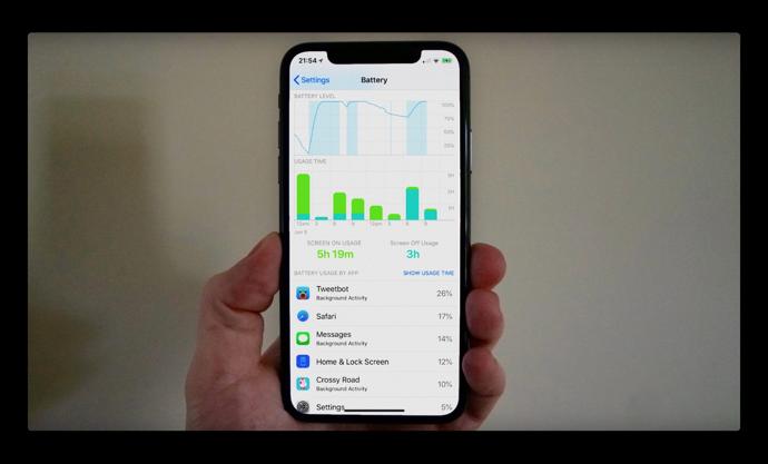 iOS 12、1日を通してバッテリレベルの変化が解るグラフが追加される