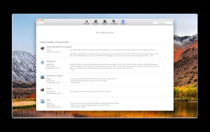 MacOS Mojave Softwea Update 001 z