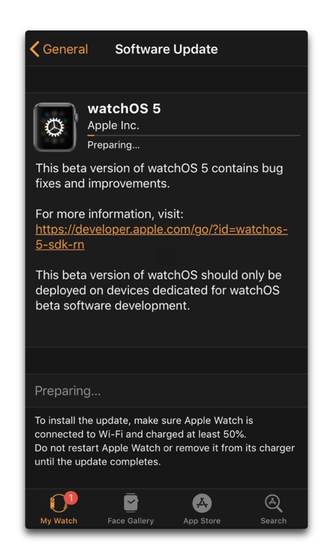 WatchOS Softwea Update 001 z